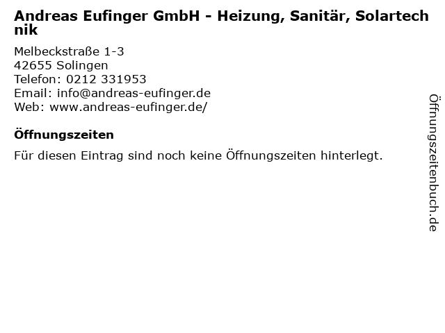 Andreas Eufinger GmbH - Heizung, Sanitär, Solartechnik in Solingen: Adresse und Öffnungszeiten