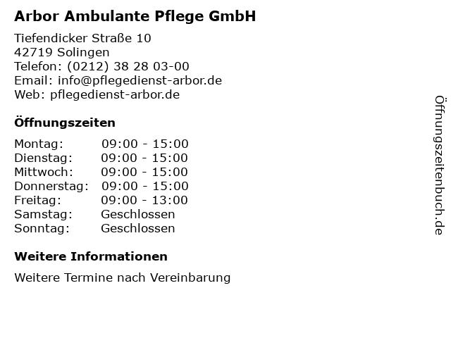 Arbor Ambulante Pflege GmbH in Solingen: Adresse und Öffnungszeiten