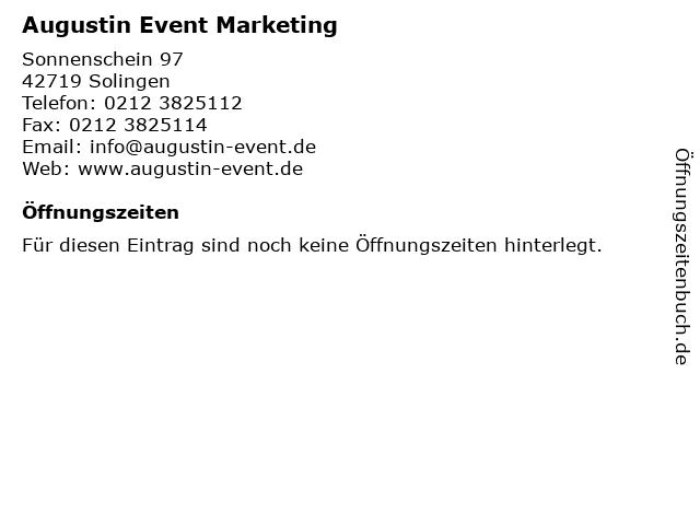 Augustin Event Marketing in Solingen: Adresse und Öffnungszeiten