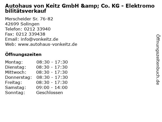 Autohaus von Keitz GmbH & Co. KG - Elektromobilitätsverkauf in Solingen: Adresse und Öffnungszeiten