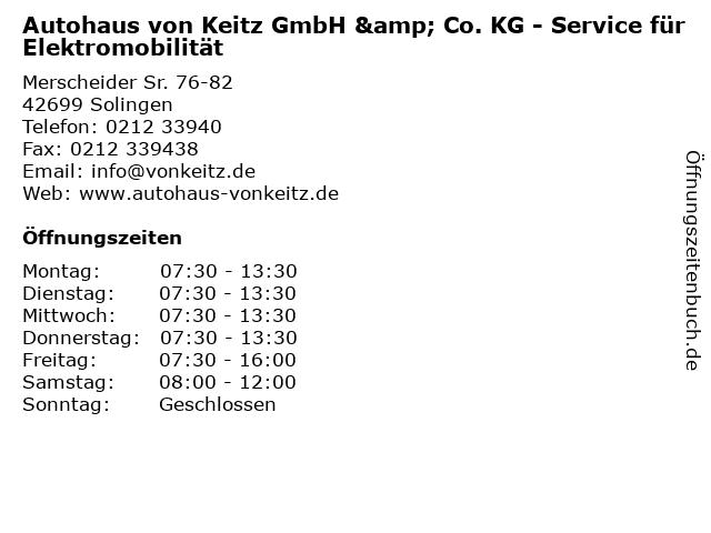 Autohaus von Keitz GmbH & Co. KG - Service für Elektromobilität in Solingen: Adresse und Öffnungszeiten