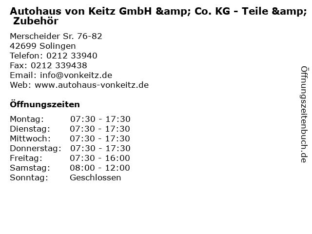 Autohaus von Keitz GmbH & Co. KG - Teile & Zubehör in Solingen: Adresse und Öffnungszeiten