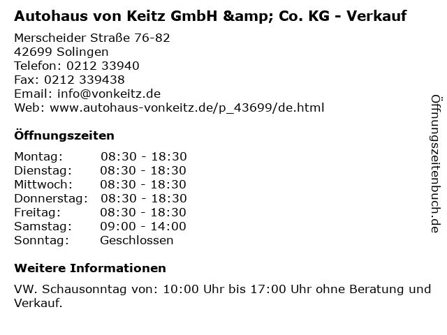 Autohaus von Keitz GmbH & Co. KG - Verkauf in Solingen: Adresse und Öffnungszeiten