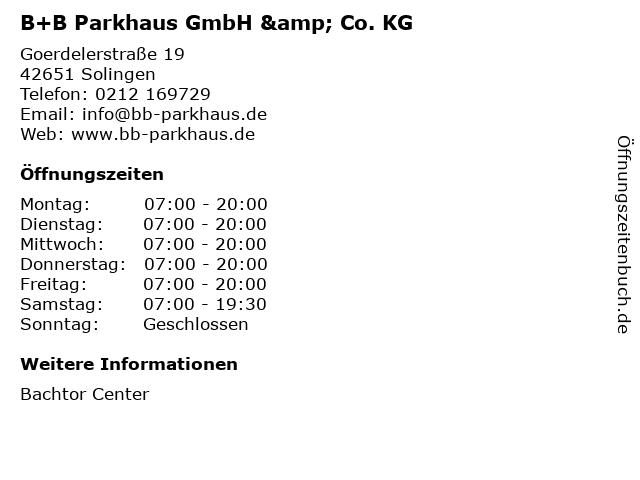 B+B Parkhaus GmbH & Co. KG in Solingen: Adresse und Öffnungszeiten