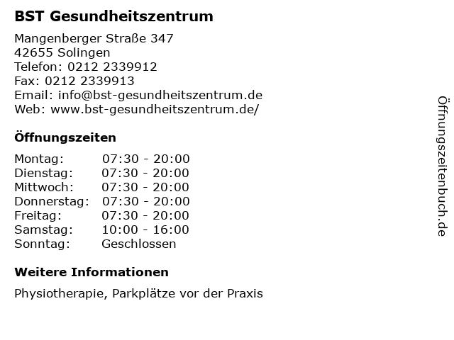 BST Gesundheitszentrum in Solingen: Adresse und Öffnungszeiten