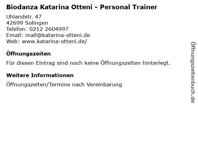 Biodanza Katarina Otteni - Personal Trainer in Solingen: Adresse und Öffnungszeiten