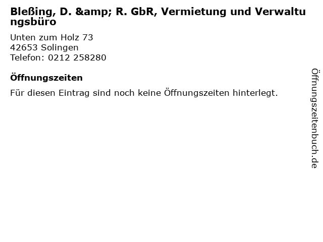 Bleßing, D. & R. GbR, Vermietung und Verwaltungsbüro in Solingen: Adresse und Öffnungszeiten