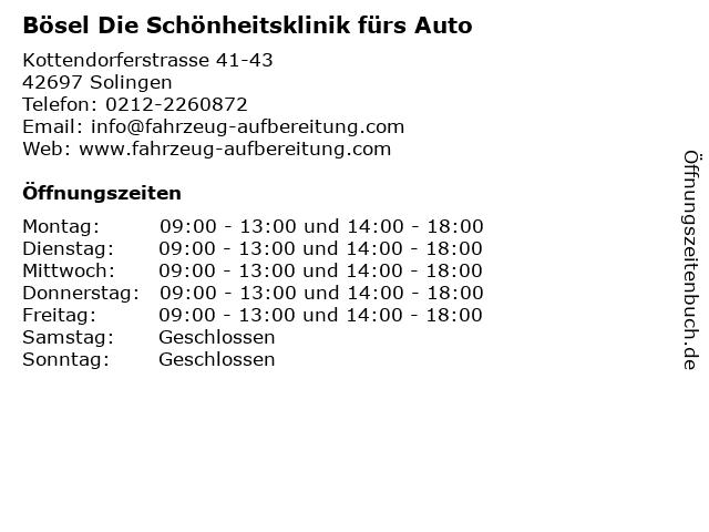 Bösel Die Schönheitsklinik fürs Auto in Solingen: Adresse und Öffnungszeiten