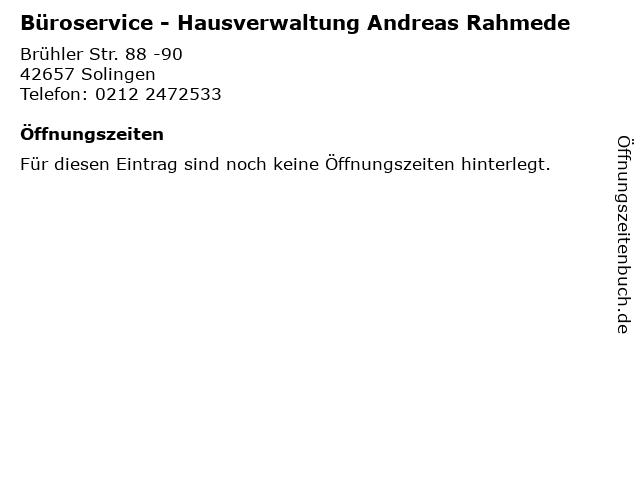 Büroservice - Hausverwaltung Andreas Rahmede in Solingen: Adresse und Öffnungszeiten