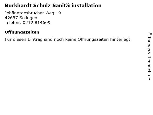 Burkhardt Schulz Sanitärinstallation in Solingen: Adresse und Öffnungszeiten