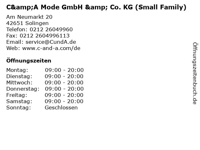C&A Mode GmbH & Co. KG (Small Family) in Solingen: Adresse und Öffnungszeiten