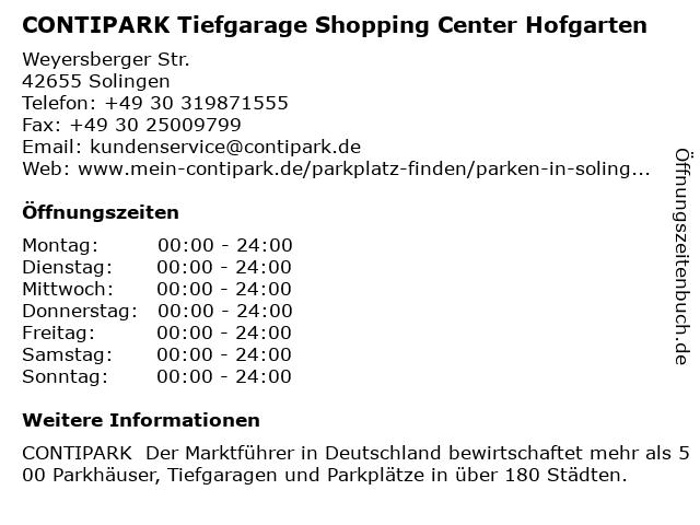 CONTIPARK Tiefgarage Shopping Center Hofgarten in Solingen: Adresse und Öffnungszeiten