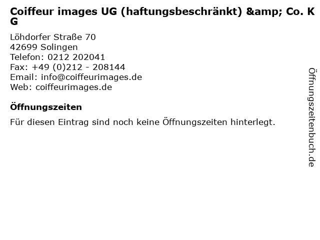 Coiffeur images UG (haftungsbeschränkt) & Co. KG in Solingen: Adresse und Öffnungszeiten