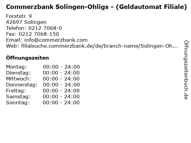 Commerzbank Solingen-Ohligs - (Geldautomat Filiale) in Solingen: Adresse und Öffnungszeiten