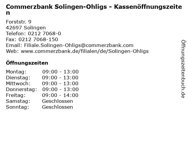 Commerzbank Solingen-Ohligs - Kassenöffnungszeiten in Solingen: Adresse und Öffnungszeiten