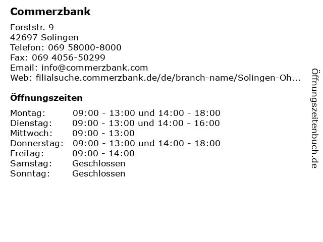 Commerzbank Solingen-Ohligs in Solingen: Adresse und Öffnungszeiten