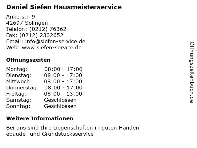 Daniel Siefen Hausmeisterservice in Solingen: Adresse und Öffnungszeiten