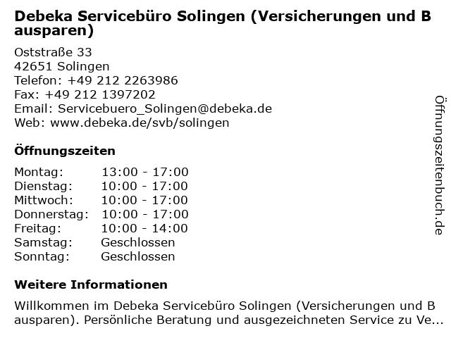 Debeka Servicebüro Solingen (Versicherungen und Bausparen) in Solingen: Adresse und Öffnungszeiten