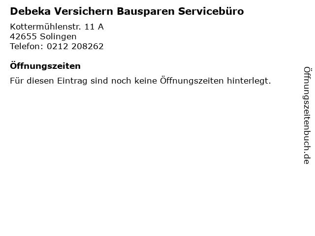 Debeka Versichern Bausparen Servicebüro in Solingen: Adresse und Öffnungszeiten