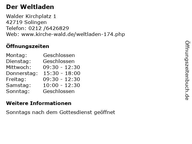 Der Weltladen in Solingen: Adresse und Öffnungszeiten