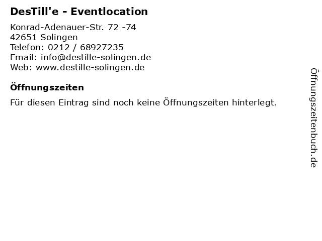 DesTill'e - Eventlocation in Solingen: Adresse und Öffnungszeiten