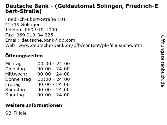 Deutsche Bank - (Geldautomat Solingen, Friedrich-Ebert-Straße) in Solingen: Adresse und Öffnungszeiten