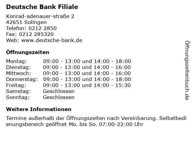 Deutsche Bank Filiale in Solingen: Adresse und Öffnungszeiten
