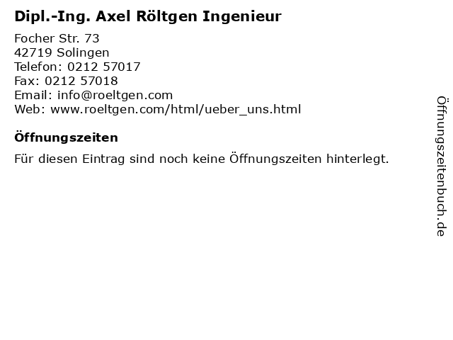 Dipl.-Ing. Axel Röltgen Ingenieur in Solingen: Adresse und Öffnungszeiten