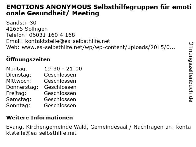 EMOTIONS ANONYMOUS Selbsthilfegruppen für emotionale Gesundheit/ Meeting in Solingen: Adresse und Öffnungszeiten