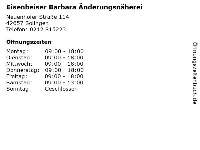Eisenbeiser Barbara Änderungsnäherei in Solingen: Adresse und Öffnungszeiten