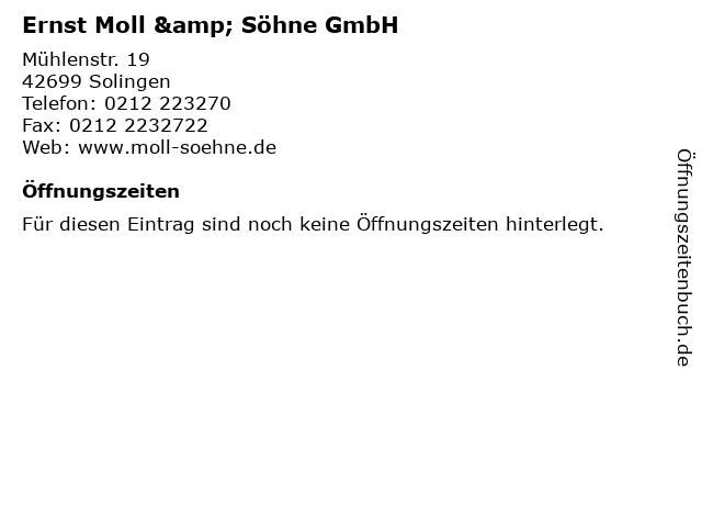 Ernst Moll & Söhne GmbH in Solingen: Adresse und Öffnungszeiten