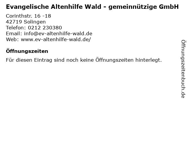Evangelische Altenhilfe Wald - gemeinnützige GmbH in Solingen: Adresse und Öffnungszeiten