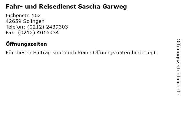 Fahr- und Reisedienst Sascha Garweg in Solingen: Adresse und Öffnungszeiten