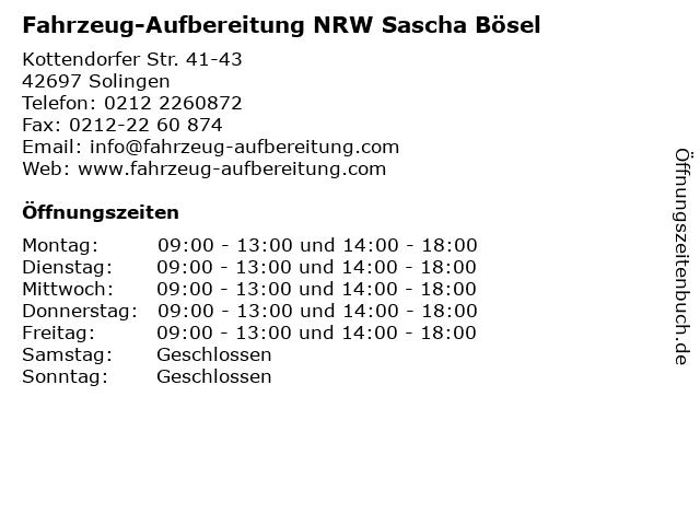 Fahrzeug-Aufbereitung NRW Sascha Bösel in Solingen: Adresse und Öffnungszeiten