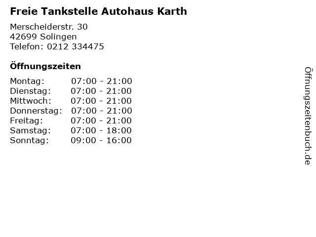 Freie Tankstelle Autohaus Karth in Solingen: Adresse und Öffnungszeiten