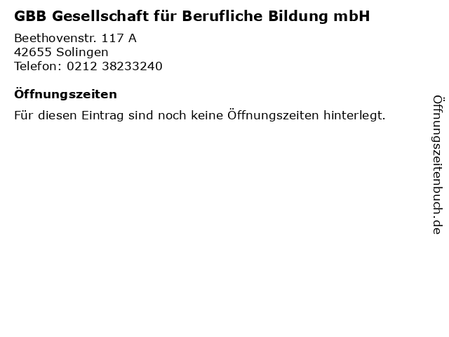 GBB Gesellschaft für Berufliche Bildung mbH in Solingen: Adresse und Öffnungszeiten