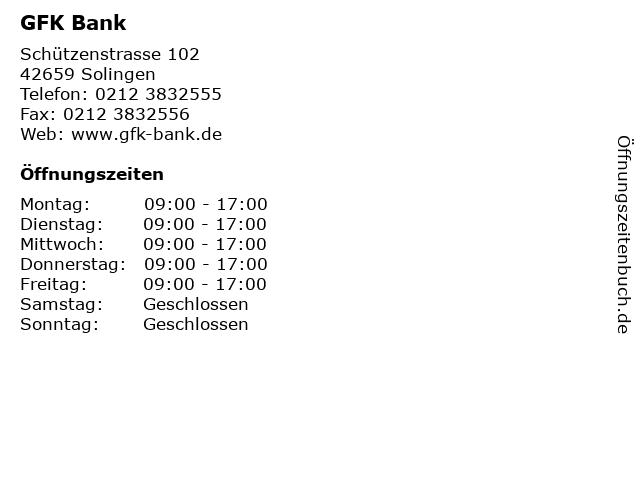 GFK Bank in Solingen: Adresse und Öffnungszeiten