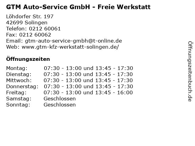 GTM Auto-Service GmbH - Freie Werkstatt in Solingen: Adresse und Öffnungszeiten