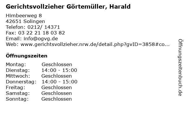 Gerichtsvollzieher Görtemüller, Harald in Solingen: Adresse und Öffnungszeiten