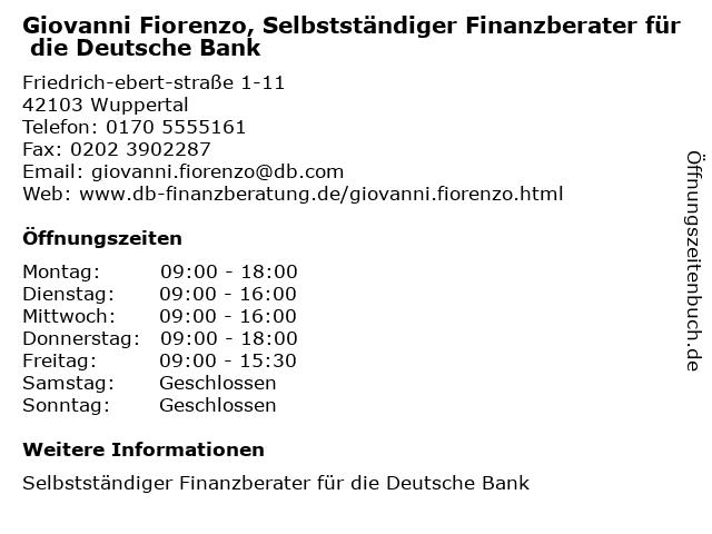 Giovanni Fiorenzo, Selbstständiger Finanzberater für die Deutsche Bank in Solingen: Adresse und Öffnungszeiten
