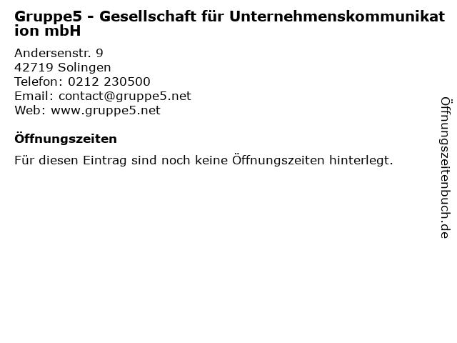 Gruppe5 - Gesellschaft für Unternehmenskommunikation mbH in Solingen: Adresse und Öffnungszeiten
