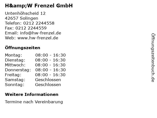 H&W Frenzel GmbH in Solingen: Adresse und Öffnungszeiten