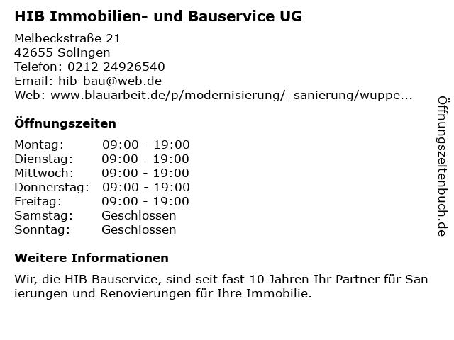 HIB Immobilien- und Bauservice UG in Solingen: Adresse und Öffnungszeiten