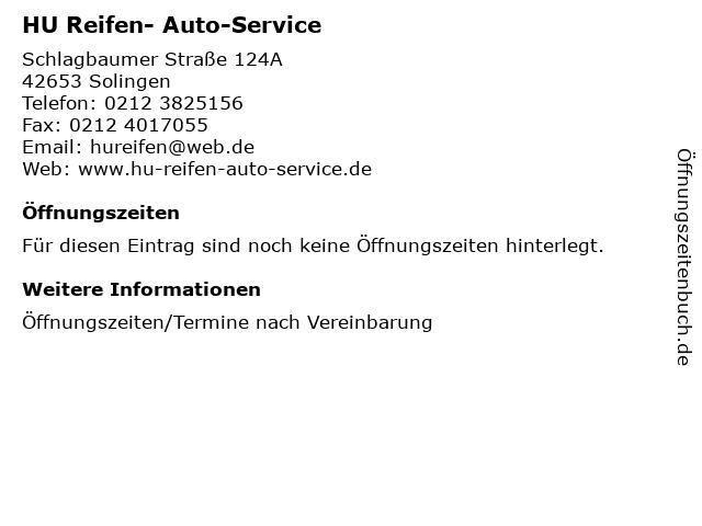 HU Reifen- Auto-Service in Solingen: Adresse und Öffnungszeiten
