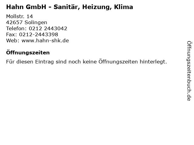 Hahn GmbH - Sanitär, Heizung, Klima in Solingen: Adresse und Öffnungszeiten