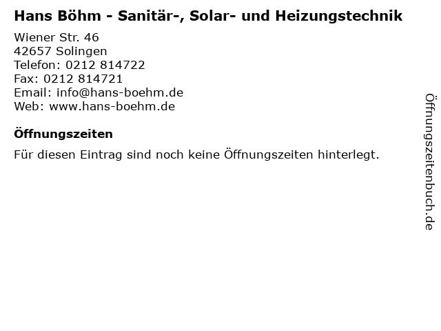 Hans Böhm - Sanitär-, Solar- und Heizungstechnik in Solingen: Adresse und Öffnungszeiten