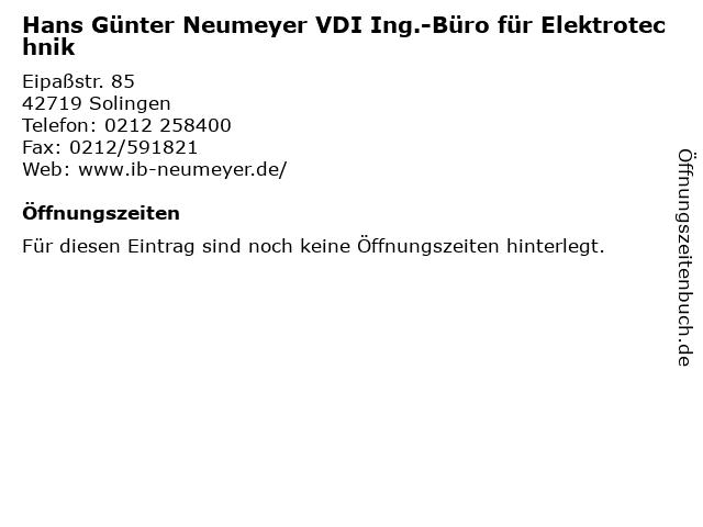 Hans Günter Neumeyer VDI Ing.-Büro für Elektrotechnik in Solingen: Adresse und Öffnungszeiten