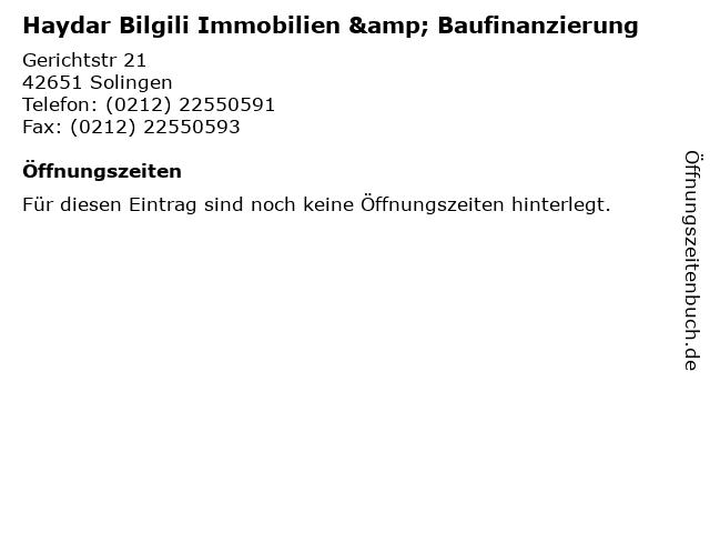 Haydar Bilgili Immobilien & Baufinanzierung in Solingen: Adresse und Öffnungszeiten