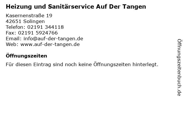 Heizung und Sanitärservice Auf Der Tangen in Solingen: Adresse und Öffnungszeiten