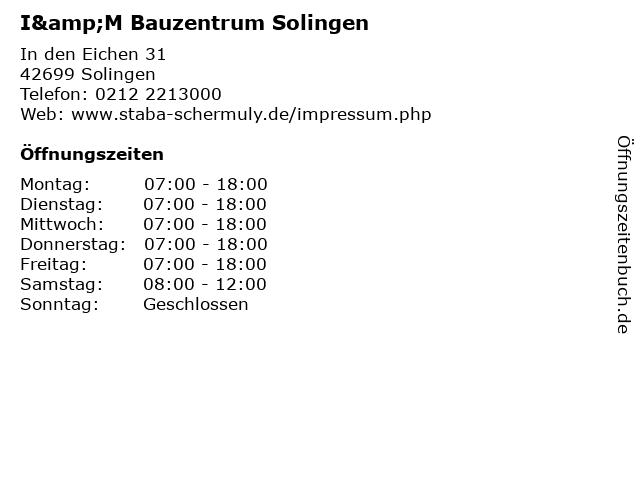 I&M Bauzentrum Solingen in Solingen: Adresse und Öffnungszeiten